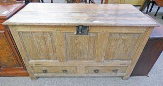 19TH CENTURY TRIPLE PANEL OAK COFFER WITH 2 DRAWERS 74CM TALL & FALL FRONT