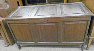 19TH CENTURY OAK TRIPLE PANEL COFFER Condition Report: Top right panel to lid is