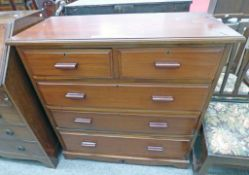 EARLY 20TH CENTURY MAHOGANY CHEST OF 2 SHORT OVER 3 LONG DRAWERS ON PLINTH BASE 95CM TALL X 96CM