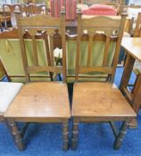 PAIR OF LATE 19TH CENTURY OAK HALL CHAIRS ON TURNED SUPPORTS