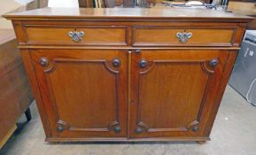 LATE 19TH CENTURY MAHOGANY CABINET WITH 2 DRAWERS OVER 2 PANEL DOORS ON BUN FEET 92 CM TALL