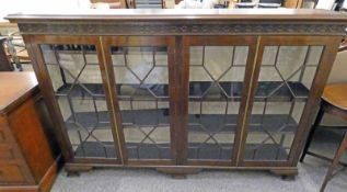 LATE 19TH CENTURY MAHOGANY BOOKCASE WITH 4 ASTRAGAL GLAZED DOORS ON BRACKET SUPPORTS 121CM TALL X