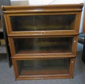 GLOBE WERNICKE 3 TIER SECTIONAL OAK BOOKCASE