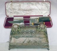 SILVER PLATED DESK SET WITH 2 CUT GLASS INKWELLS & PIERCED DECORATION & CASED HORN HANDLED CARVING