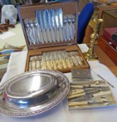 CASED SET OF 12 FISH KNIVES & FORKS WITH SILVER MOUNTS, OVAL ENTREE DISH, LIDDED BOX, ETC,