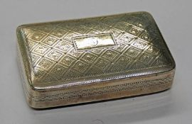 19TH CENTURY SILVER SNUFF BOX WITH ENGRAVED DECORATION,