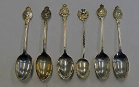 6 SILVER CRESTED SPOONS
