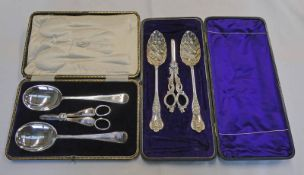 CASED SET OF 2 SILVER PLATED SPOONS & SILVER PLATED GRAPE SCISSORS,