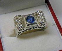 FRENCH ART DECO STYLE SAPPHIRE & DIAMOND SET RING