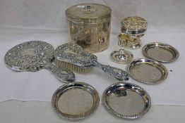 SILVER PLATED HAND MIRROR & BRUSH, SILVER PLATED OVAL BOX WITH FLORAL DECORATION,
