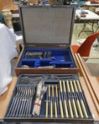 OAK CASED CANTEEN OF VARIOUS CUTLERY