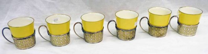6 YELLOW PARAGON FINE CHINA CUPS IN PIERCED SILVER MOUNTS WITH HANDLES BY WALKER & HALL LTD,