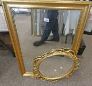 GILT FRAMED MIRROR WITH BEVELLED EDGE & GILT FRAMED OVAL MIRROR Condition Report: