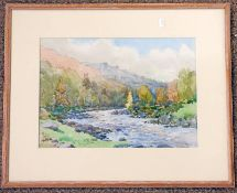 JACKSON SIMPSON, AUTUMN ON THE DON AT BRUX, SIGNED IN PENCIL, FRAMED WATERCOLOUR, 25 X 35.