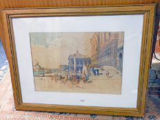 FRAMED PICTURE OF EUROPEAN CITY SCENE, 37 X 53 CM Condition Report: Frame is worn,