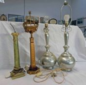 PAIR OF METAL TABLE LAMPS TOGETHER WITH ONYX TABLE LAMP AND OTHER.