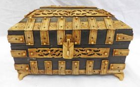 ORIENTAL BOX WITH BONE MOUNTS AND A QUANTITY OF SHELLS.