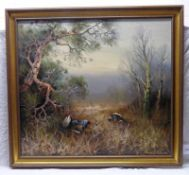 ARNOLD SCHATZ BLACKCOCK IN THE UNDERGROWTH SIGNED FRAMED OIL PAINTING,