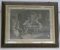 19TH CENTURY ROSEWOOD FRAMED ENGRAVING THE COTTER'S SATURDAY NIGHT - 43 X 57 CMS