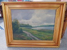 GILT FRAMED OIL PAINTING RIVER SCENE WITH PATH INDISTINCTLY SIGNED - 55 X 74 CMS