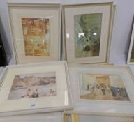 SET OF 11 FRAMED RUSSELL FLINT PRINTS - OVERALL SIZE 44 X 55 CMS