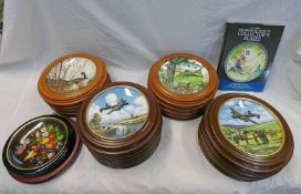 SET OF 10 LIMITED EDITION PLATES HEROES OF THE SKY IN MAHOGANY FRAMES,