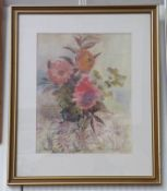 CHRISTINE PETERSON DAHLIAS ON AN EMBROIDERED CLOTH SIGNED FRAMED PASTEL 40 X 31 CM