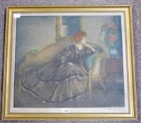 MANUEL ROBBE AFTER GEORGE HENRY WOMAN LOUNGING SIGNED IN PENCIL BY BOTH ARTISTS WITH STUDIO BLIND