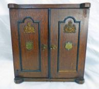 19TH CENTURY OAK APPRENTICES CABINET IN THE FORM OF A SAFE WITH BRASS FITTINGS & FITTED INTERIOR -