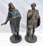 TWO METAL FIGURES DEPICTING WILLIAM SHAKESPEARE & JOHN MILTON.