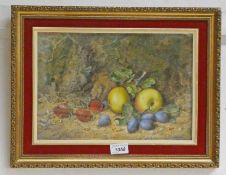 GEORGE CLARE SUMMER FRUIT SIGNED FRAMED WATERCOLOUR 22.