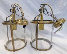 PAIR OF CENTRE CEILING LIGHT FITTINGS - HEIGHT 34 CMS