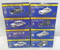 EIGHT ATLAS EDITIONS 1:43 SCALE MODEL CARS FROM THE BEST OF BRITISH POLICE CARS SERIES INCLUDING