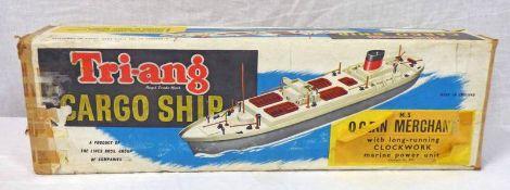 TRIANG CARGO SHIP OCEAN MERCHANT CLOCKWORK MODEL.