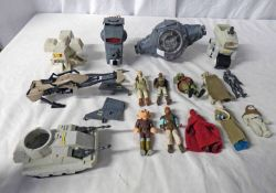 SELECTION OF VINTAGE PLAYWORN STAR WARS RELATED ITEMS INCLUDING VEHICLES AND FIGURES