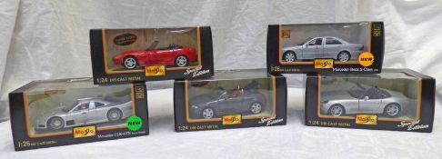 FIVE BURAGO 1:24/26 SCALE MODEL CARS INCLDUING BMW 28, MERCEDES - CLK -GTR (STREET VERSION),