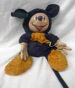 VINTAGE MICKEY MOUSE SOFT TOY WITH PLASTIC HEAD.