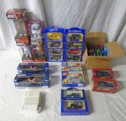 THREE STAR WARS BOBBLE HEAD FIGURES, VARIOUS JIG SAWS, LLEDO MODEL VEHICLES AND OTHERS.