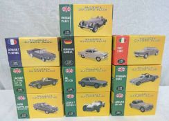 TEN ATLAS EDITIONS 1:43 SCALE MODEL CARS FROM THE CLASSIC SPORTS CARS SERIES INCLUDING MORGAN PLUS