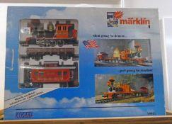 MARKLIN MAXI S54401 - WESTERN STARTER SET WITH METAL TANK LOCOMOTIVE: CABOOSE, LOW SIDE CAR, TRACK,