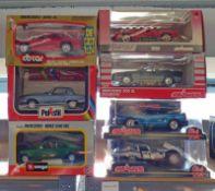 SELECTION OF 1:24 SCALE MODEL CARS FROM BURAGO, MAJORETTE, POLISTIL INCLUDING JAGUAR E TYPE,