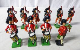 SELECTION OF METAL PIPER & DRUMMERS FIGURES