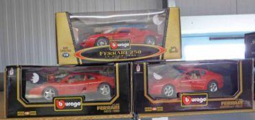 THREE BURAGO 1:18 SCALE METAL FERRARI MODELS INCLUDING FERRARI 456 GT (1992) AND FERRARI 348 GTB
