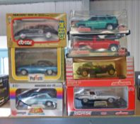 SELECTION OF 1:24 SCALE MODEL CARS FROM MAJORETTE, BURAGO AND POLISTIL INCLUDING BUGATTI 55,