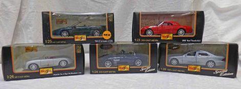FIVE BURAGO 1:24/25 SCALE MODEL CARS INCLUDING PORSCHE NO 1 TYP 356 ROADSTER (1948) TMW 28,