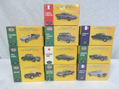 TEN ATLAS EDITIONS 1:43 SCALE MODEL CARS FROM THE CLASSIC SPORTS CARS SERIES INCLUDING PEUGEOT 403