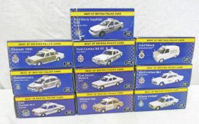 TEN ATLAS EDITIONS 1:43 SCALE MODEL CARS FROM THE BEST OF BRITISH POLICE CARS SERIES INCLUDING FORD