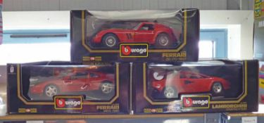 THREE BURAGO 1:18 SCALE METAL CAR MODELS INCLUDING FERRARI 348TB (1989) TOGETHER WITH LAMBORGHINI