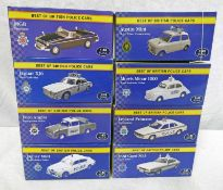 EIGHT ATLAS EDITIONS 1:43 SCALE MODEL CARS FROM THE BEST OF BRITISH POLICE CARS SERIES INCLDUING