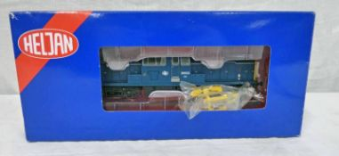 HELJAN 1718 00 GAUGE CLASS 17 D8523 IN BLUE WITH FULL YELLOW ENDS.